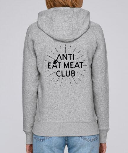 Anti Eat Meat Club Ladies Organic Hoodie