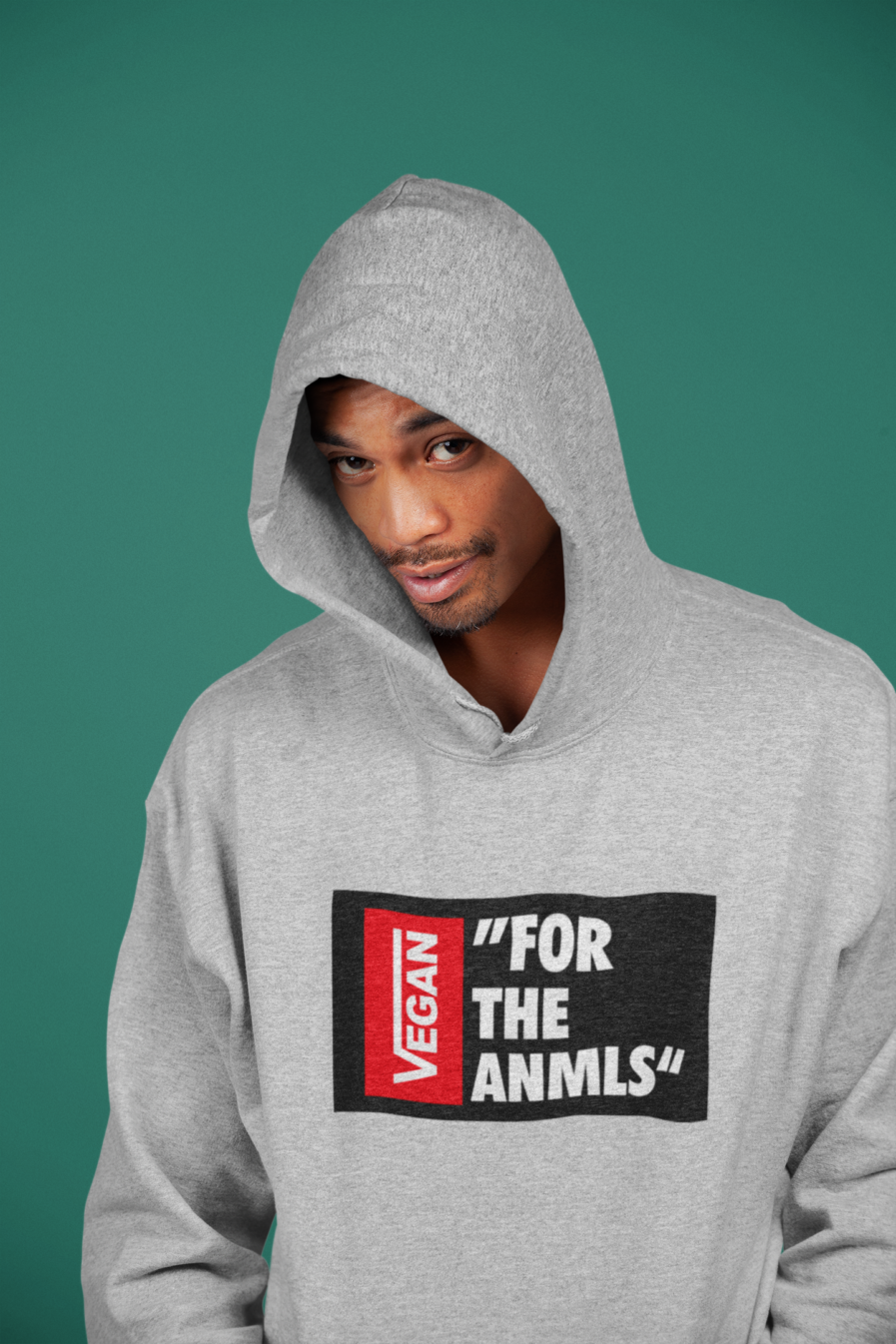 "vegan ""for the anmls"" organic hoodie cream heather grey"