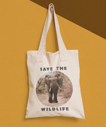 Save The Wildlife Baumwolltasche Weiß