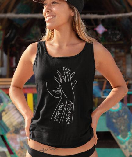 Wish You Were Vegan Ladies Organic Tank-Top