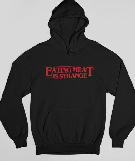 eating meat is strange organic hoodie black