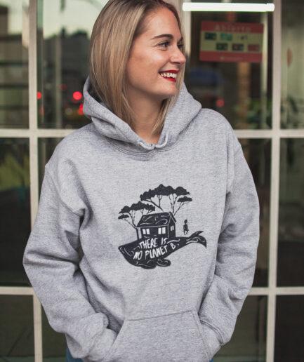 no planet b unisex organic hoodie grey