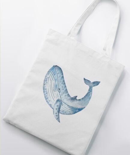 whale baumwolltasche white