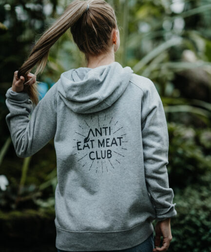 Anti Eat Meat Club Logo Hoodie grau