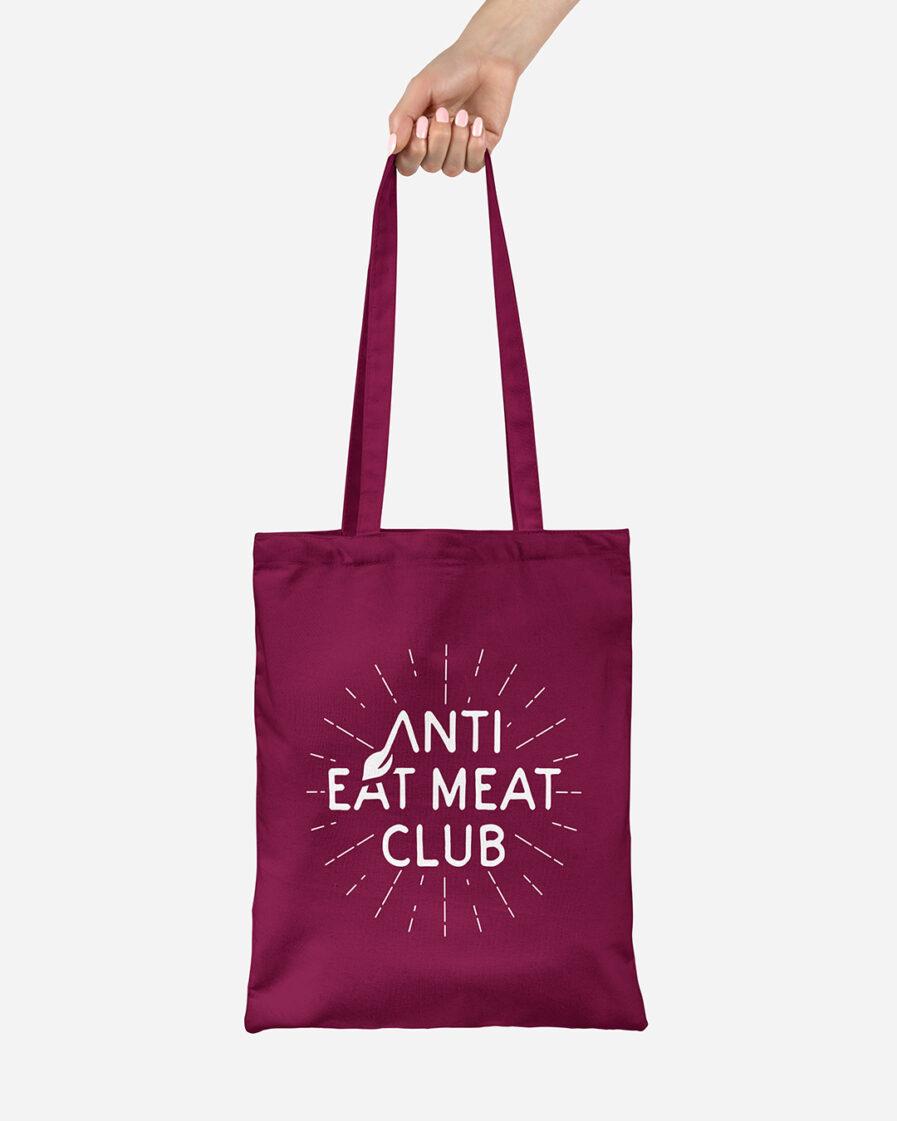 Anti Eat Meat Club Jutebeutel burgundy