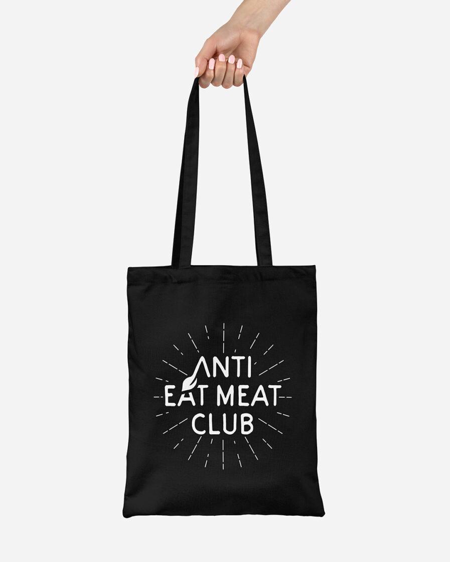 Anti Eat Meat Club Jutebeutel schwarz