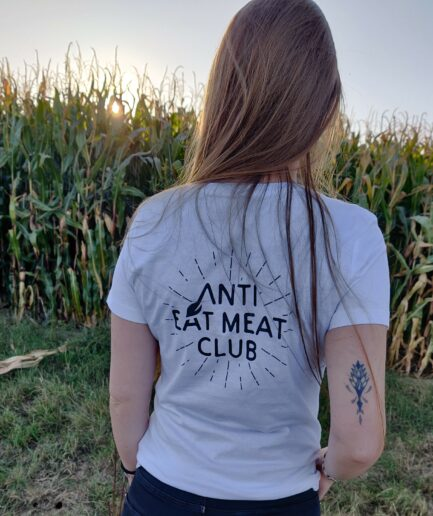 anti eat meat club logo ladies organic shirt back weiss