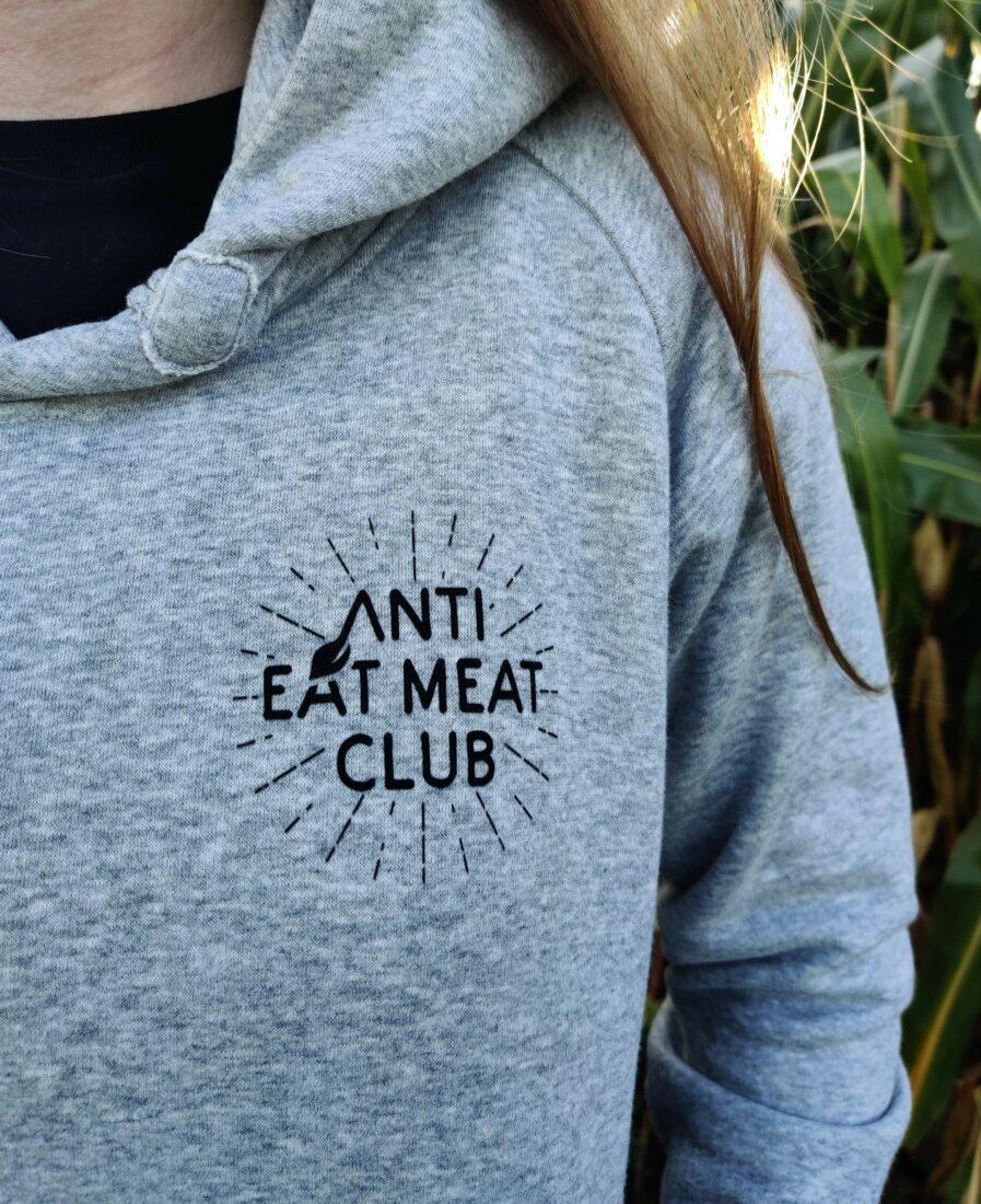 anti eat meat club logo organic hoodie grau front