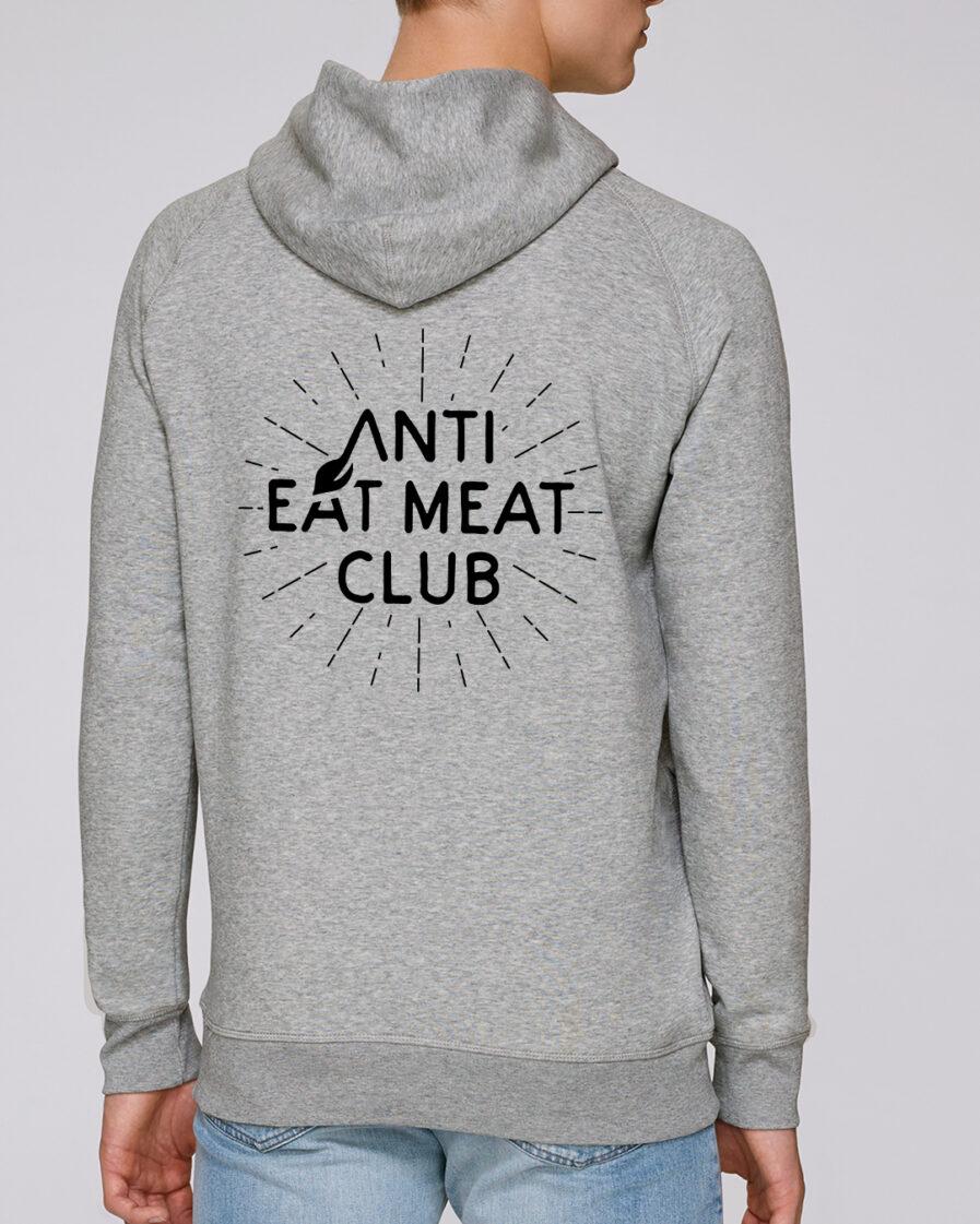 Anti Eat Meat Club Hoodie in hellgrau für Männer