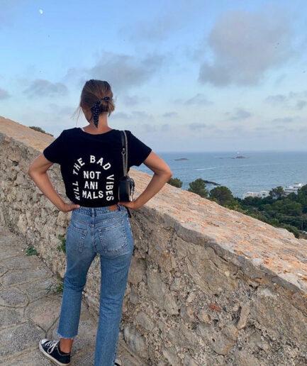 Kill The Bad Vibes Not Animals Ladies Organic Shirt