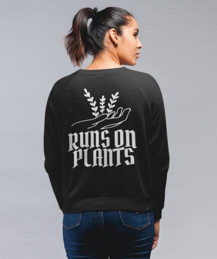 Runs on plants Ladies Organic Sweatshirt