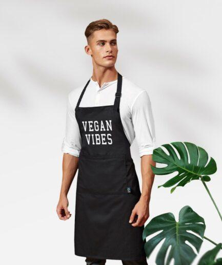 Vegan Vibes Fair Trade Kochschürze mit Tasche