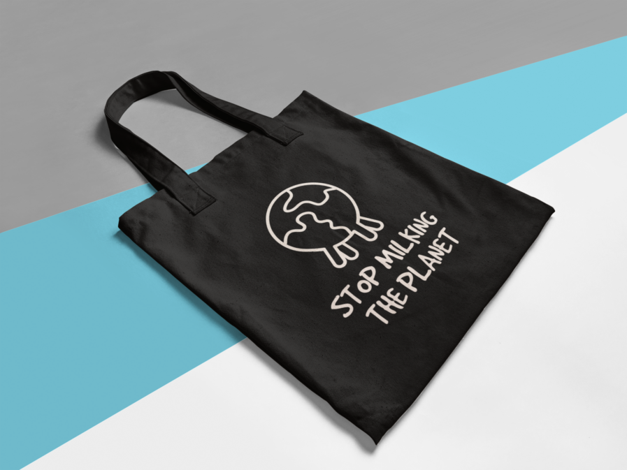 stop milking the planet tasche