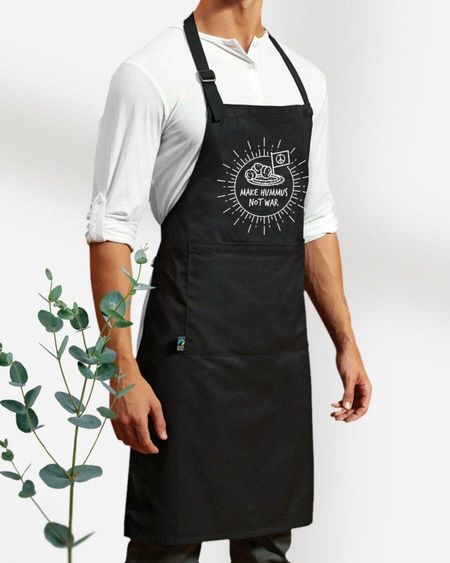 Make Hummus Not War Fair Trade Kochschürze mit Tasche