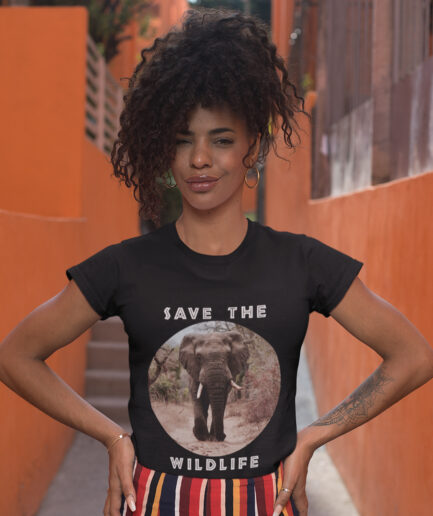 Save The Wildlife Ladies Organic Shirt Schwarz