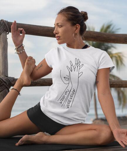 Wish You Were Vegan Ladies Organic Shirt