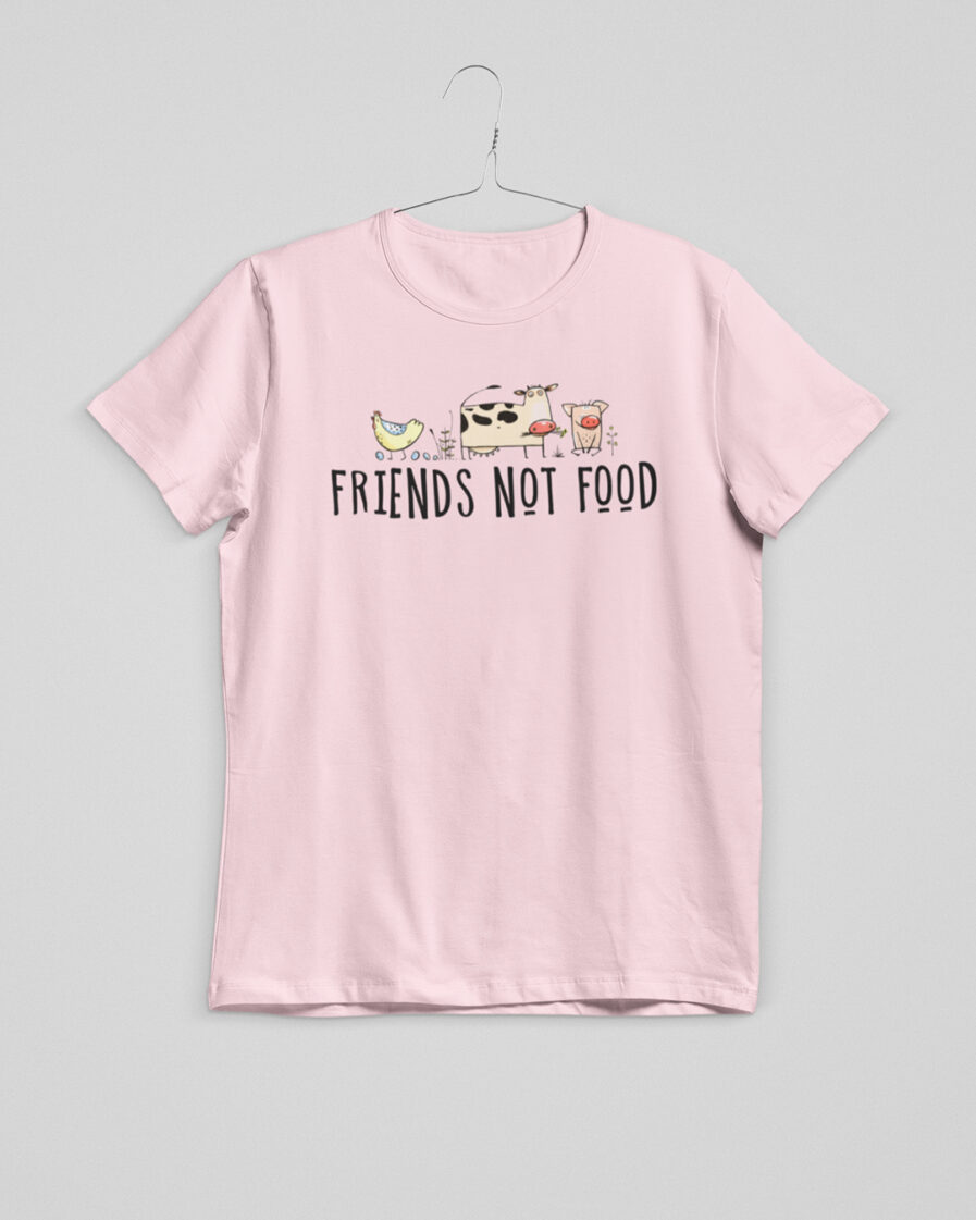 friends not food ladies organic shirt pink