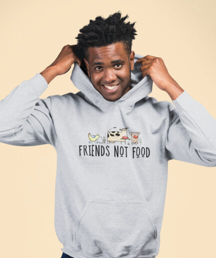 friends not food organic hoodie unisex grau