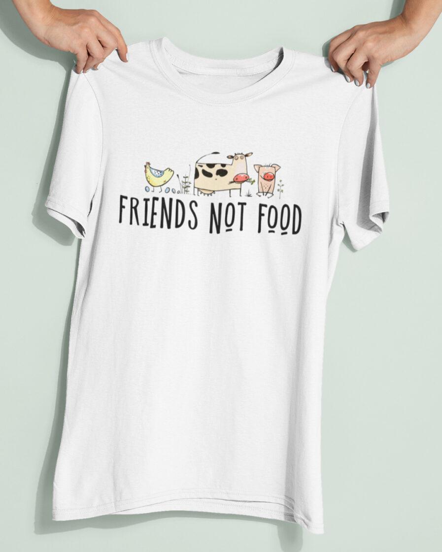 friends not food organic shirt white