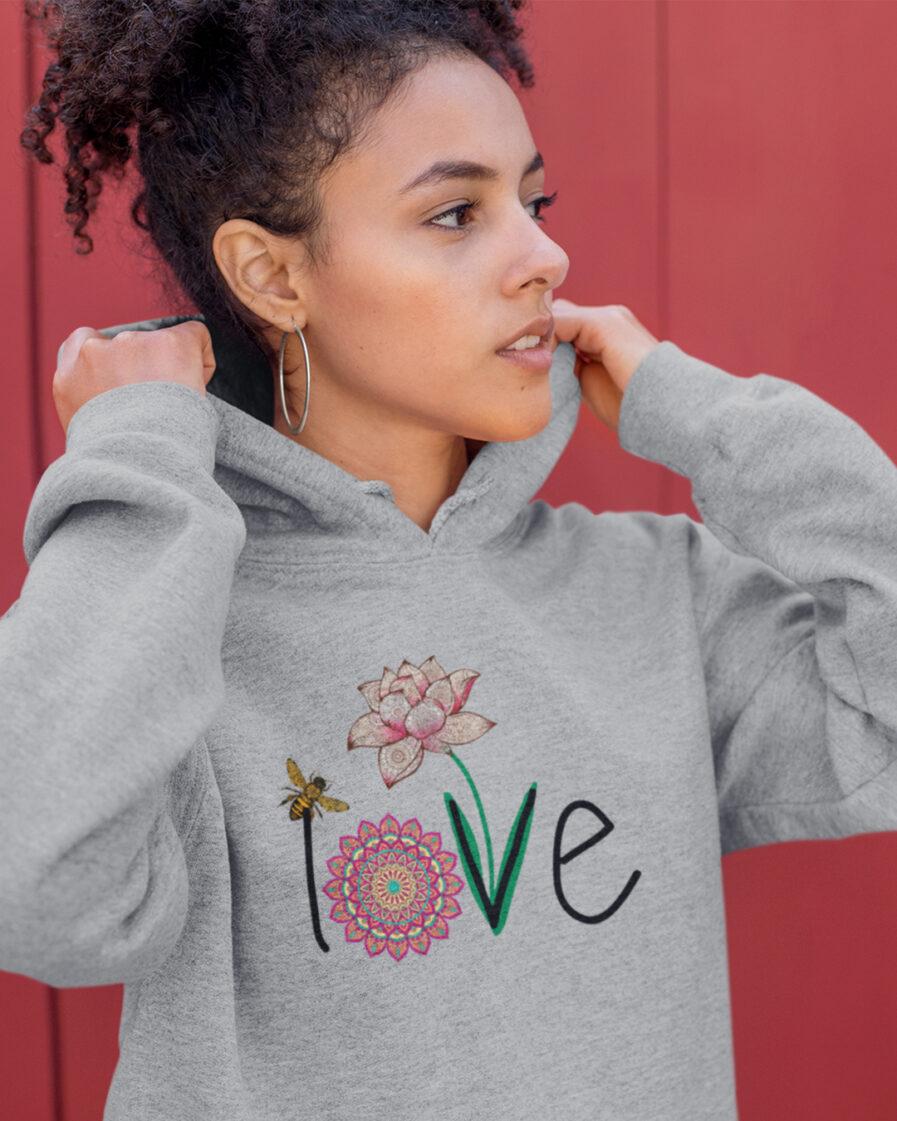 love organic unisex hoodie grey