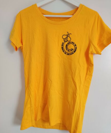 save the freaking bees ladies organic shirt yellow