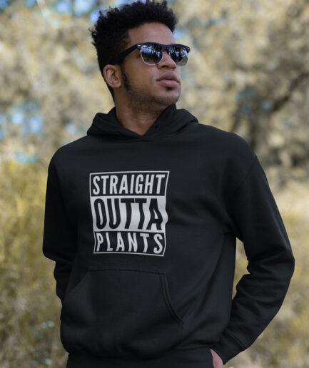 straight outta plants organic hoodie black