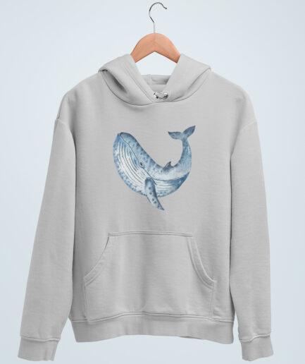 whale organic unisex hoodie grau