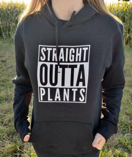 straight outta plants organic hoodie schwarz