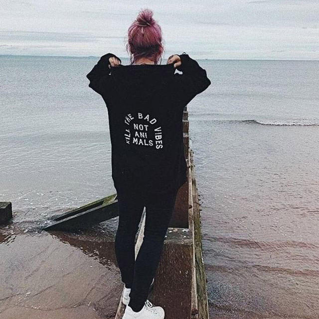 Kill The Bad Vibes Not Animals Hoodie