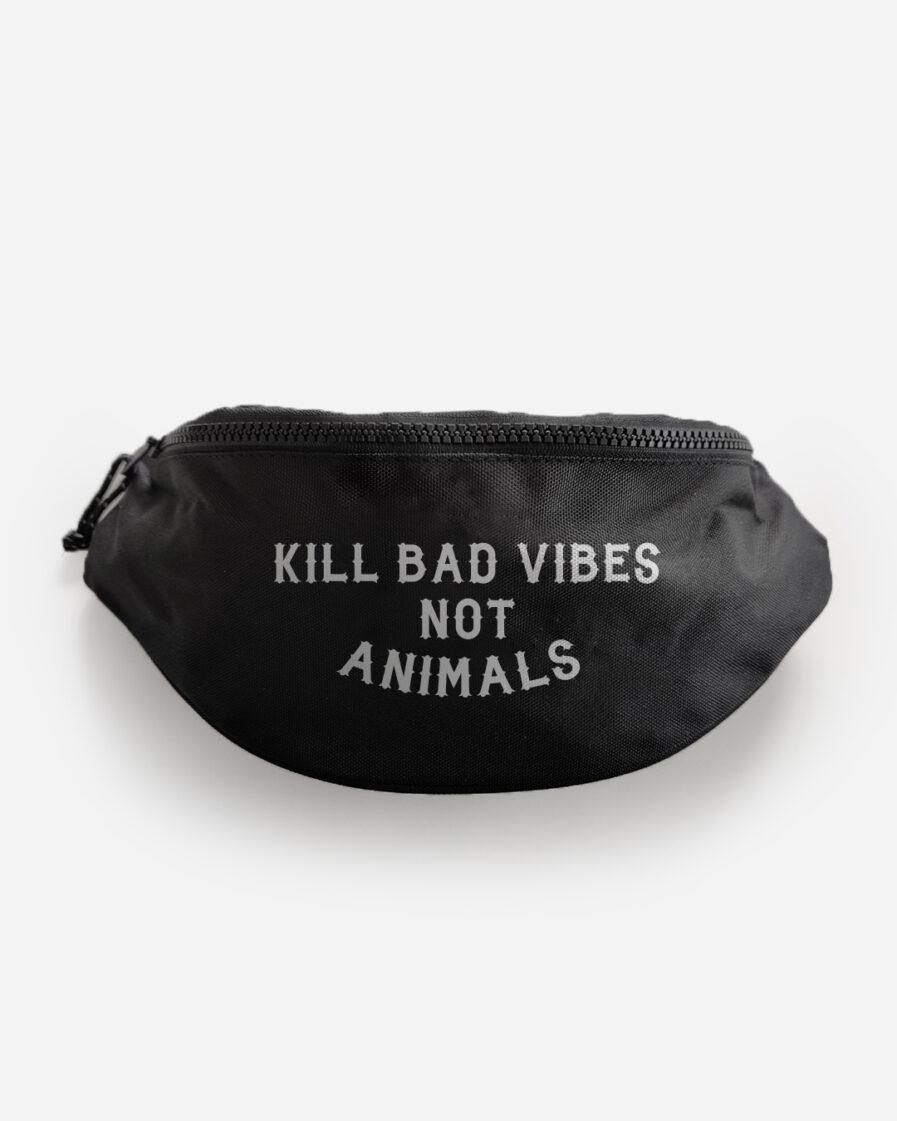 kill-bad-vibes-not-animals-recycelte-bauchtasche-schwarz