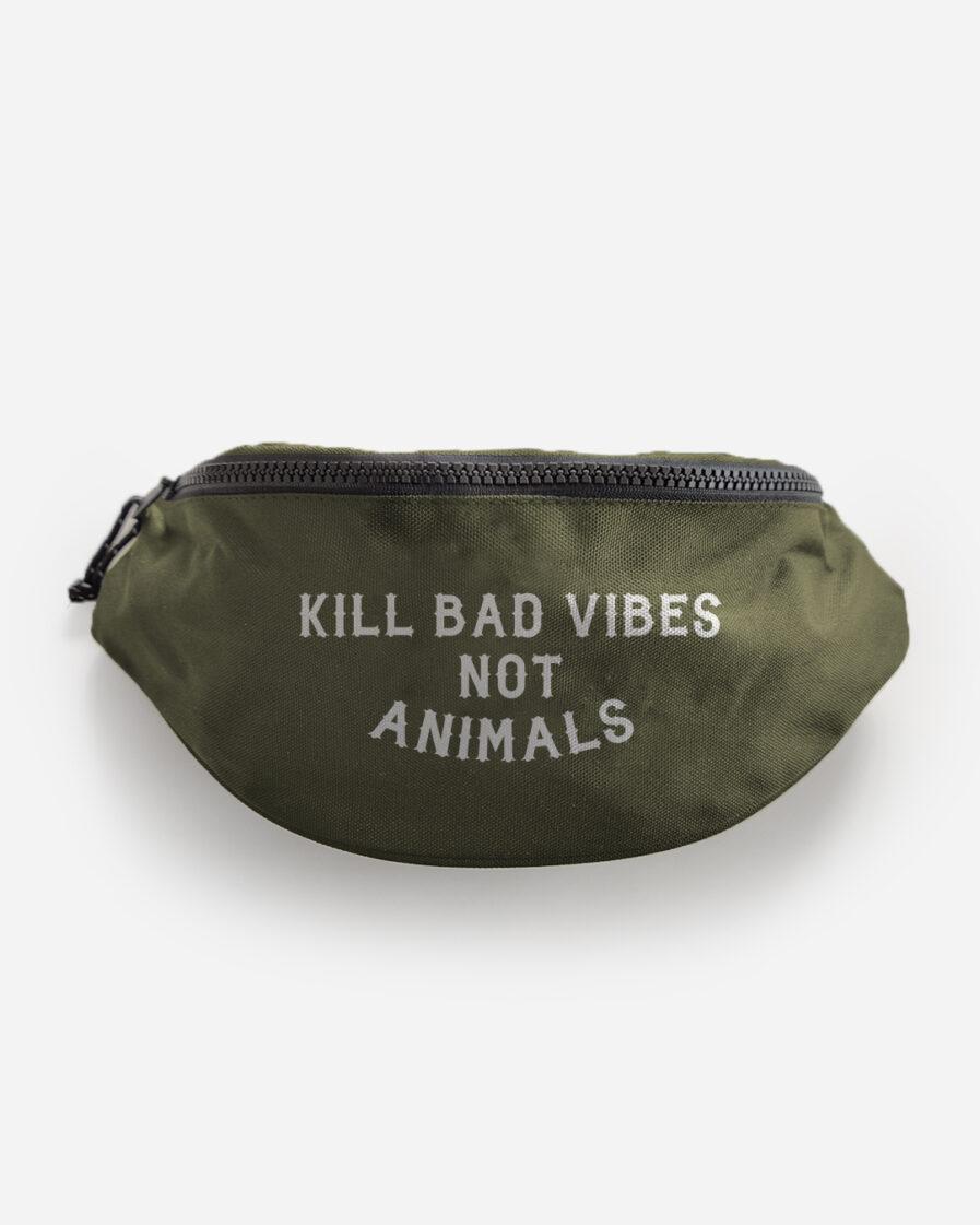 kill-bad-vibes-not-animals-recycelte-bauchtasche-gruen