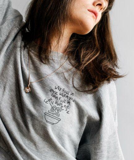 Lentil Bolognese Love Unisex Organic Sweatshirt