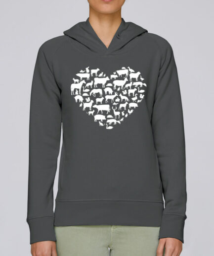 animal love organic hoodie anthrazit