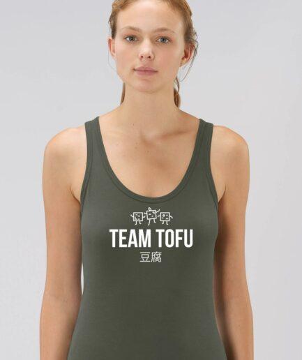 Team Tofu Ladies Organic Tank Top Khaki