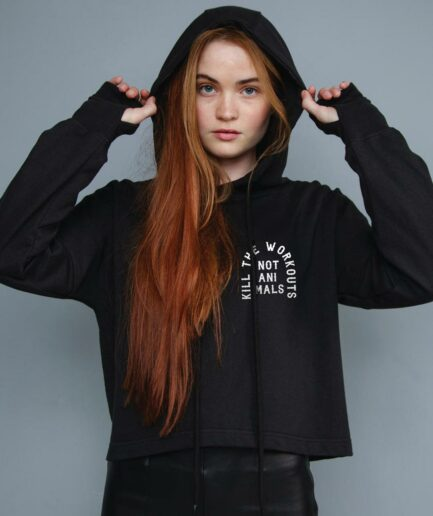 Kill The Workouts Not Animals Organic Cropped Hoodie