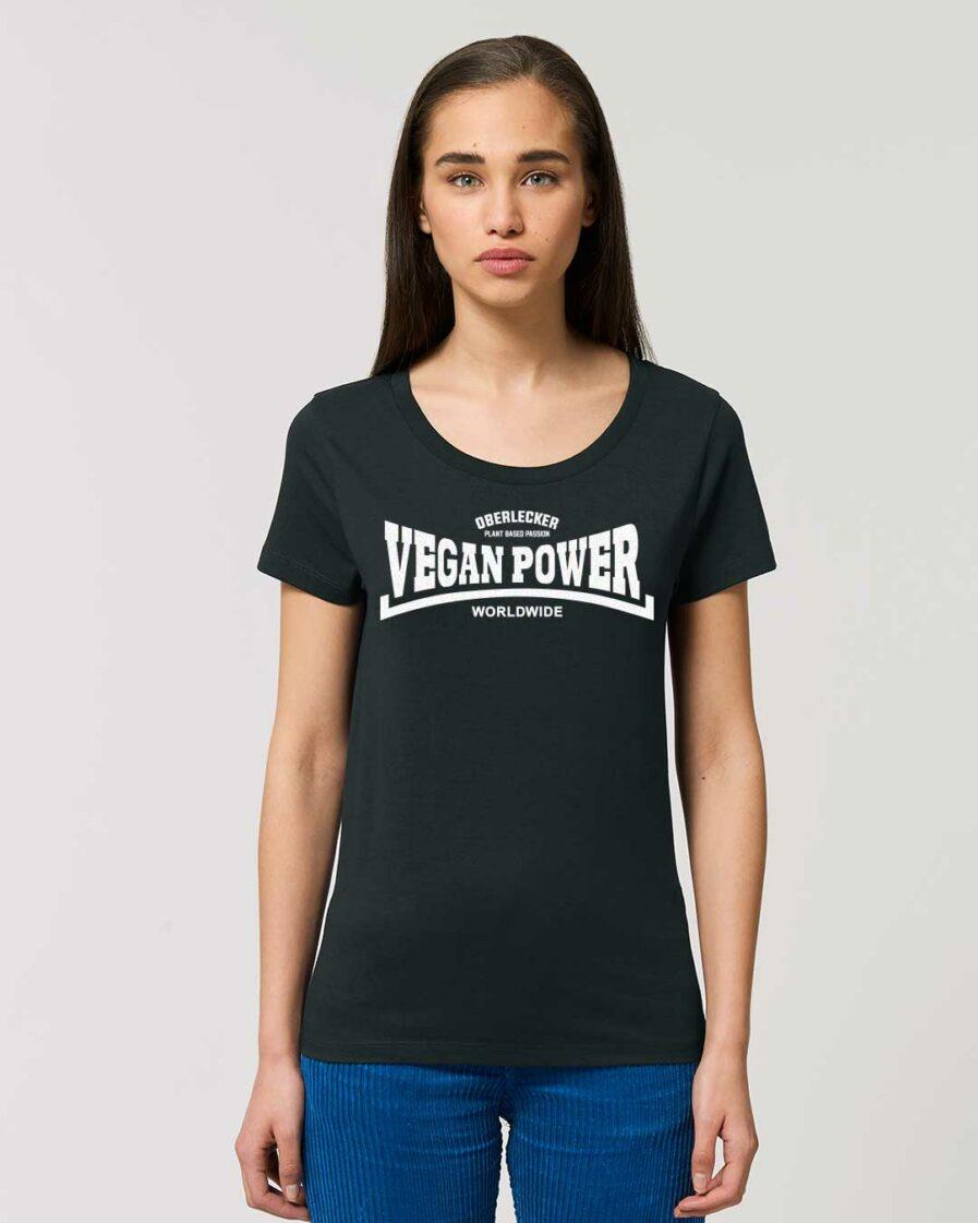 oberlecker-vegan-power-hier-kocht-alex-tailliertes-organic-shirt-schwarz