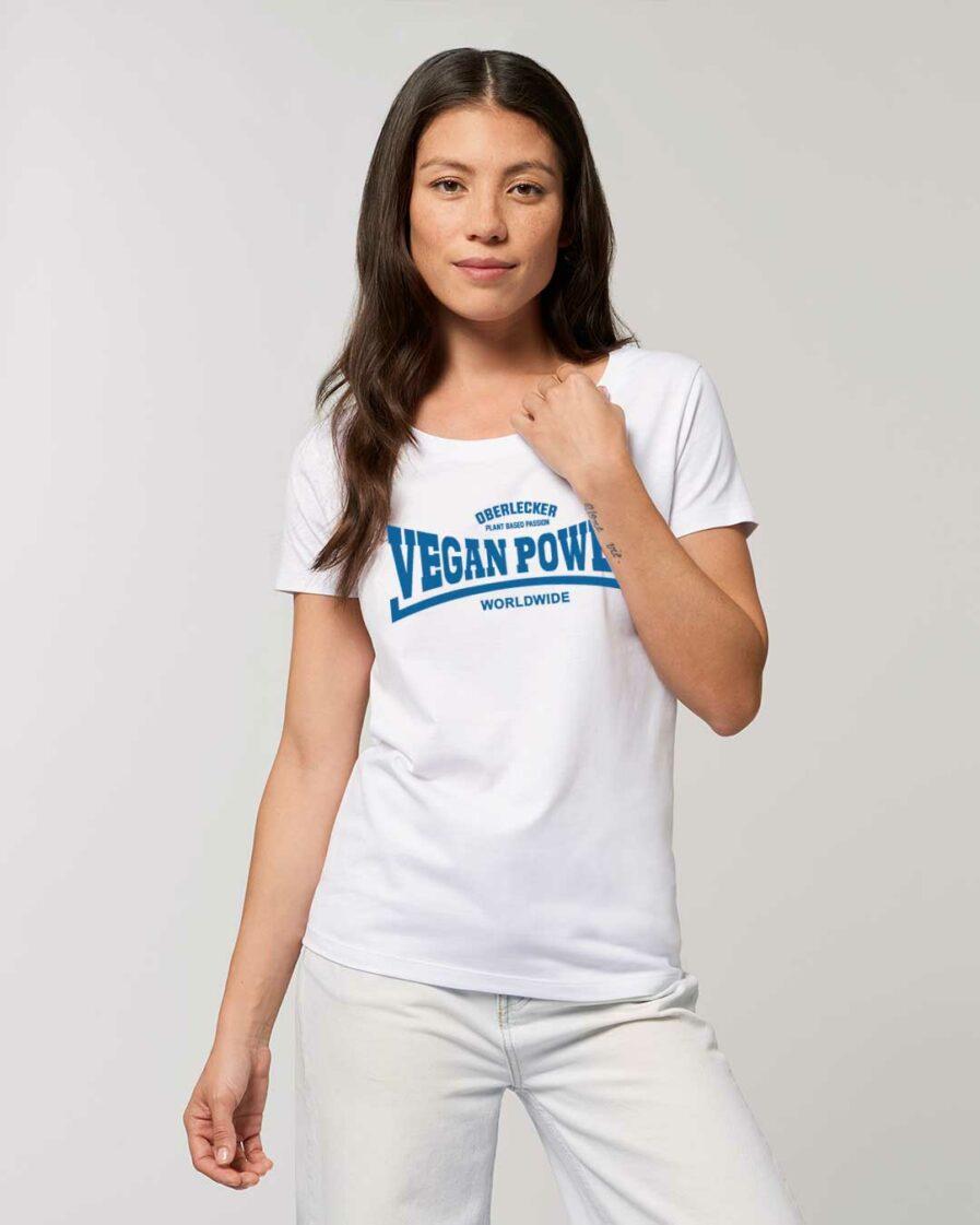 oberlecker-vegan-power-hier-kocht-alex-tailliertes-organic-shirt-weiss