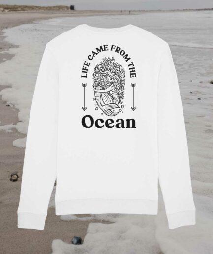 Ocean Life Organic Sweatshirt Back White